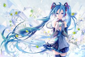 flowers long hair blue hair purple eyes miniskirt detached sleeves anime girls anime vocaloid hatsune miku