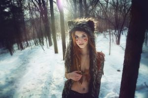 fluffy hat hat pierced navel trees winter snow women outdoors suicide girls nose rings forest redhead cleavage women fennek suicide looking at viewer