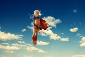 flying blonde dc comics superhero anime supergirl digital art superheroines artwork clouds sky cape