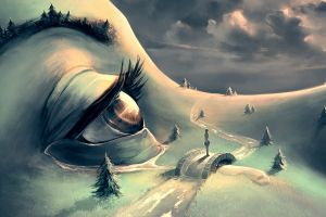 forest clouds bridge hills women trees tears face fantasy art aquasixio eyes stream path surreal artwork