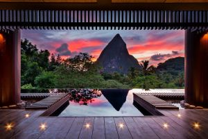 forest spa palm trees hotel trees st. lucia sunset orange water red stones nature wooden surface landscape luxury