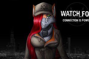 fox girl furry fox digital art redhead black background watch_dogs watch_dogs
