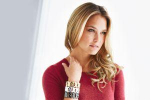 freckles women blonde model bracelets bar refaeli portrait looking into the distance blue eyes red sweater