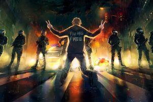 freedom city police night yuumei artwork riot cityscape lights fisheye placebo riots