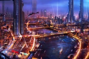 futuristic city artwork painting futuristic city