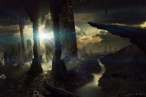 futuristic city city artwork fantasy art futuristic