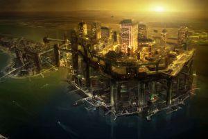futuristic city cityscape science fiction cyberpunk futuristic