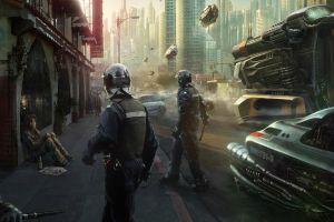 futuristic city cyberpunk artwork futuristic police