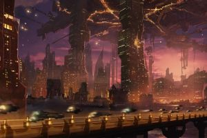 futuristic city futuristic artwork city