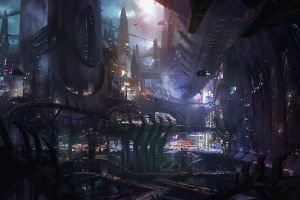futuristic city futuristic artwork