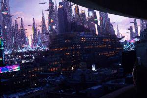 futuristic city futuristic neon