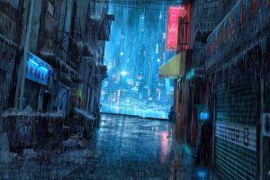 futuristic city rain cityscape digital art