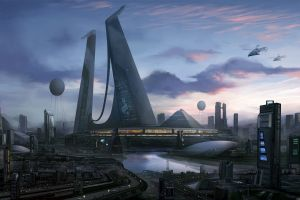 futuristic city science fiction city