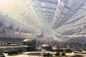 futuristic futuristic city space station science fiction