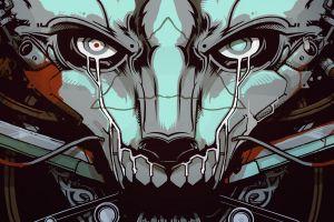 futuristic machine cyborg music anime artwork cyberpunk digital art robot skull