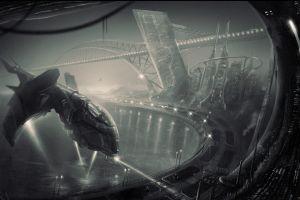 futuristic monochrome science fiction