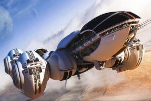 futuristic render digital art spaceship space art