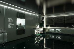futuristic render space station interior design