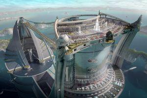 futuristic science fiction digital art futuristic city
