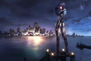 futuristic sky purple hair anime cityscape anime girls