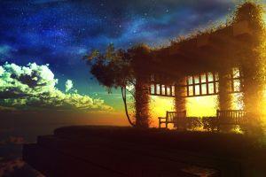 garden flying sunset digital art fictional sky
