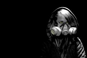 gas masks dark green eyes selective coloring women black background
