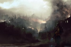 gas masks futuristic ruin apocalyptic artwork cityscape