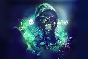 gas masks skull digital art