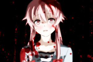 gasai yuno anime anime girls blood twintails black background mirai nikki
