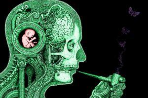 gears artwork skull baby clockwork smoking science butterfly