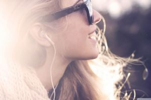 glasses women women with glasses happy headphones profile music face