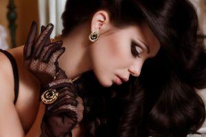 gloves classy face dark hair necklace women model profile brunette