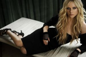 gloves smirk blue eyes black dress avril lavigne blonde women long hair heels legs