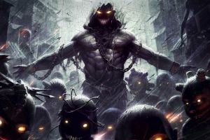 glowing eyes creature demon disturbed chains fantasy art horror