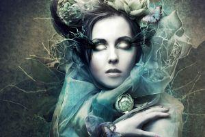 glowing eyes women fantasy girl fantasy art