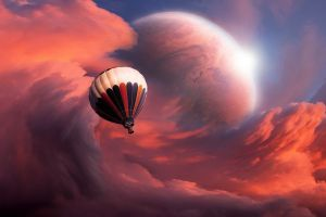 glowing flying planet fantasy art space art artwork vehicle colorful abstract hot air balloons clouds
