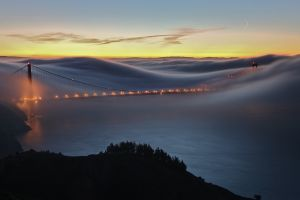 golden gate bridge san francisco usa mist cityscape bridge