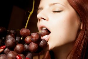 grapes fruit model women closed eyes