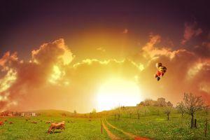 grass field sunlight digital art hot air balloons animals cow landscape sky