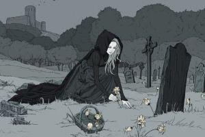 graveyards death fantasy girl fantasy art