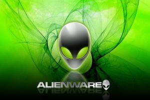 green background alienware skull