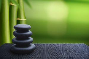 green bamboo stones zen
