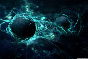 green blue abstract space art planet space digital art