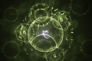 green digital art abstract circle