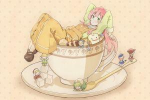 green eyes cup anime girls sugar  pink jinrui wa suitai shimashita anime spoon simple background