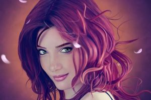 green eyes digital art eyes women anime lips smiling leaves susan coffey redhead artwork