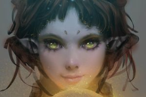 green eyes fantasy girl dark hair fantasy art