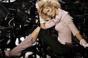 green eyes pants blonde victoria's secret women karolina kurkova model