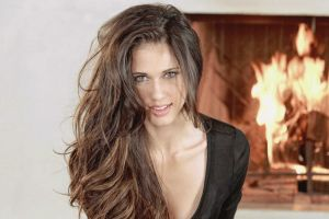 green eyes pornstar fireplace face long hair looking at viewer brunette tiffany thompson