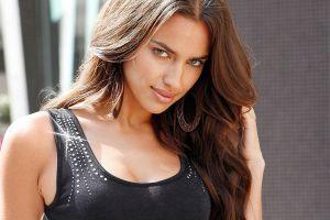 green eyes tank top wavy hair face irina shayk brunette women model